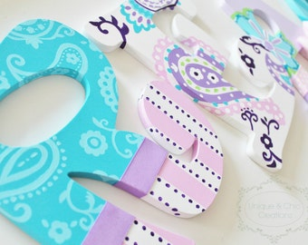 Lavender, Purple, Aqua, and Pink Paisley Brooklyn Hand Painted Personalized Nursery Letters