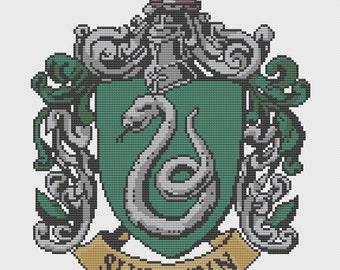 Slytherin Crest Cross Stitch Pattern