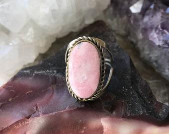 Rhodochrosite Adjustable Ring, Adjustable Gemstone Ring