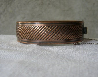 Mid Century Modern Copper Hinged Bangle Bracelet Cable Pattern
