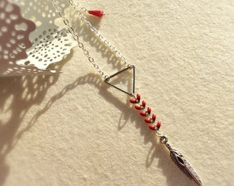 """""""Triangle"""" ears red enamel and silver necklace"""