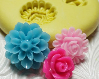 POM POM Rose Flower Trio Mold Flexible Silicone Rubber Push Mold for Resin Wax Fondant Clay Ice 7777