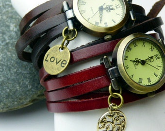 Leather Wrap Around Wrist Watch either Chocolate Brown or Red Wrap Watch - Leather Bracelet - Tree of Life or Love Heart Charm
