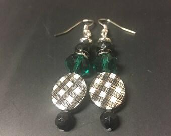 Teal Houndstooth Earrings
