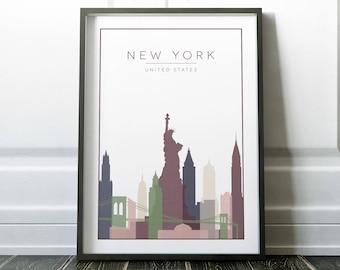 Wall Art, New York Poster, New York Wall Art, New York Print, Minimalist City, Minimalist Wall Art, New York, Modern Travel, Travel Wall Art