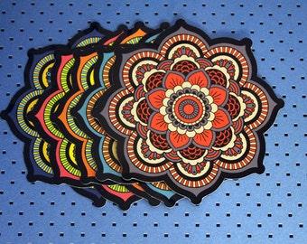 Set Of 5 Sacred Geometry Mandala Bumper Stickers