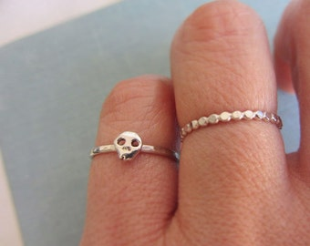 Skull ring, Sterling silver, Tiny ring, Silver skull ring, Stacking band, Bone ring, Halloween jewelry, Skull jewelry, Romantic gift
