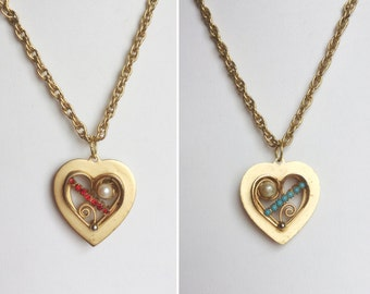 Gold Heart Pendant Necklace, Reversible Pendant, Red Rhinestones, Turquoise Blue Stones, Faux Pearl, Handmade with Vintage Materials