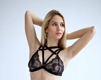 Harness bra. Sheer bra with black strappy. Strappy front bra. See through bra, body harness, anniversary gift, gift for her, gift for wife.
