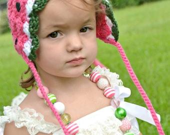 Watermelon Bonnet Hat Baby Toddler Summertime