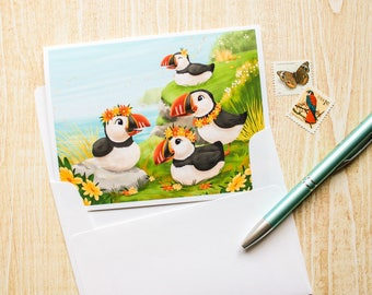 Puffins Bird Greeting Card - Blank Card - Cute Card - Animal Card - Just Because - Any Occasion - Illustrated