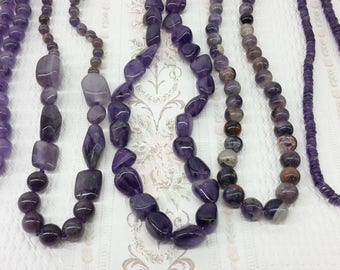 Necklace made of natural purple Amethyst  - different styles - beads - February birthstone-