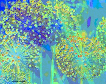 Blue Allium Flowers, Digital Art, Abstract Realism, Spring Garden, Wildflowers Floral, Wall Hanging, Home Decor, Giclee Print, 8 x 8