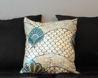Metallic Blue African Print Throw Pillow