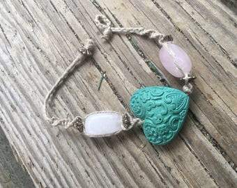 Turquoise Love Charm bracelet w/rose quartz beads