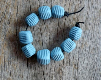 Blue Pebble Beads,Striped  Beads,  Artisan Bead Set,  Jewelry Supplies
