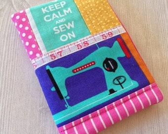 Sewing needle case, keep calm and sew on needle holder, one of a kind handmade needle book, gift for sewer or quilter