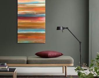 "Original abstract painting - acrylic on canvas - 12""x24"" - southwest decor - boho decor - ombre - minimal - desert - stripes"