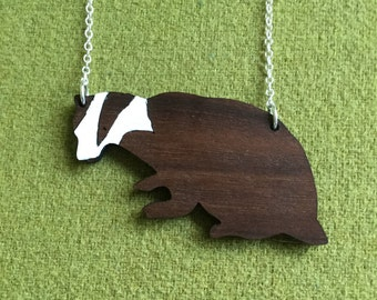 Party Animals  - wooden badger necklace with sterling silver chain