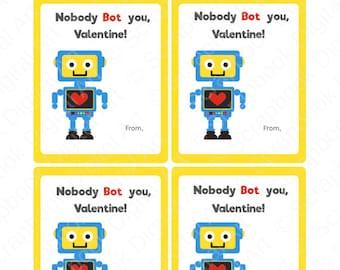 Printable Robot Valentine tags, Kids Valentine cards, Valentine's Day Cards For Kids, Valentine tags, Robot, Valentine.