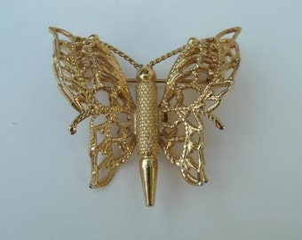 Vintage Butterfly Brooch - Goldtone Metal - 1 1/2 Inches Wide - Monet Brooch Pin - Costume Jewelry