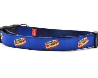 Chicago Style Hot Dog - Dog Collar - Navy - Large