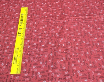 Around Town-Words on Maroon Cotton Fabric from Red Rooster Fabrics