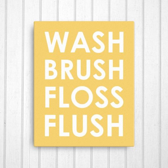27 Colors Wash Brush Floss Flush Canvas Bathroom Wall Art