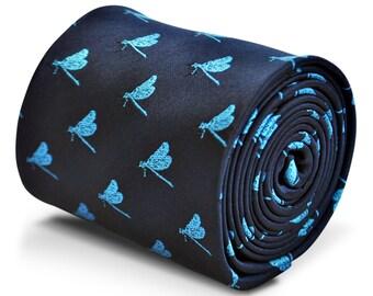 Marina de guerra corbata con diseño de libélulas bordadas con diseño floral de la firma en la parte trasera de Frederick Thomas FT3236