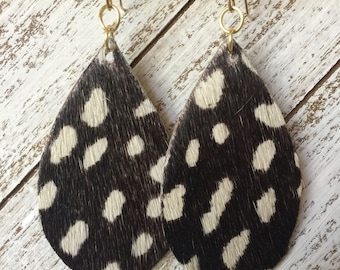 Brown and White Hair On Leather Statement Earrings