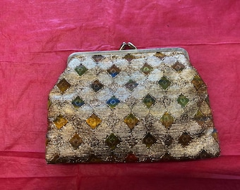 1960's Mid Century Gold Sequined Clasp Top Clutch Purse