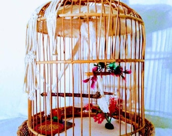 Bird cage, small bird,  colors bright. Hawaiian Tiki house for your pet.  a small bird fits. Baby canary parakeet was raised in one