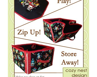 Sewing Pattern: Digital, Convertible Play Mat & Storage Tote, organization, tote, toy storage, bin, playmat, nursery,