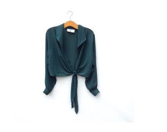 Tie Front Wrap Top | Sheer | Emerald Green | 90's does 70's