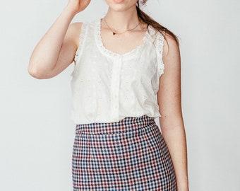 Vintage Plaid Secretary Skirt XS/S