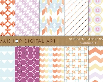 Digital Paper 'Gabriela II' Geometric, Chevron, Stripes, Triangles, Abstract Printable Backgrounds for Scrapbook, Crafts, Cards, Invites..