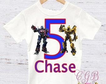 Transformers birthday shirt, optimus prime and bumble bee birthday shirt