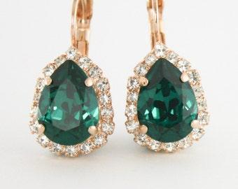 Emerald green earrings,Swarovski emerald earrings,green crystal earrings,crystal earrings,emerald wedding,emerald,teardrop earrings,emerald