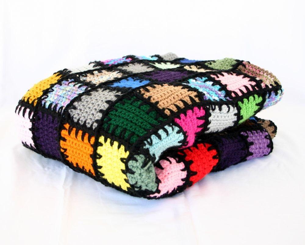 Long stitches scrap yarn afghan PDF crochet PATTERN colorful lap ...