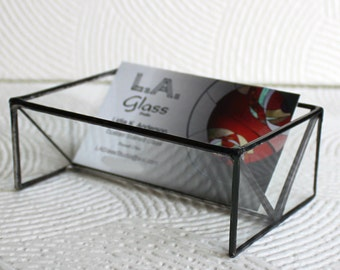 Clear Stained Glass Business Card Holder - Home-Office-Professional