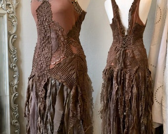 Boho wedding dress dark blush tones, Alternative wedding dress made in Denmark, boho wedding dress ,unique wedding dress,repurposed lace