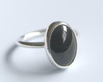 Black Onyx Ring Sterling Silver Ring Bezel Set Oval Stone