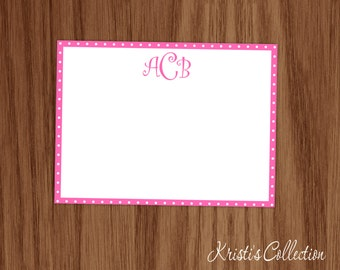 Personalized Polka Dot Note Card Set - Monogrammed Personal Stationery Stationary - Girls Custom Flat Notecards - Girl Mom Teen Gifts