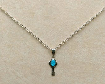 Sterling Silver Key Pendant, Vintage Small Key Pendant, Minimalist, Virgin Mary Miraculous Key,  SP Chain - A Key to Heaven by enchantedbeas