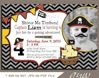Pirate Birthday Party Invitation Boy 4th Birthday Invitation Pirate Fourth Birthday Pirate Invitations Printable Invites 4th Birthday Pirate