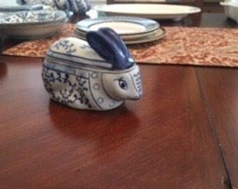 Unique blue and white bunny trinket box