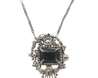 Cat Skull Snake star necklace      black stone flower deer bow silver gold wide Cornucopia