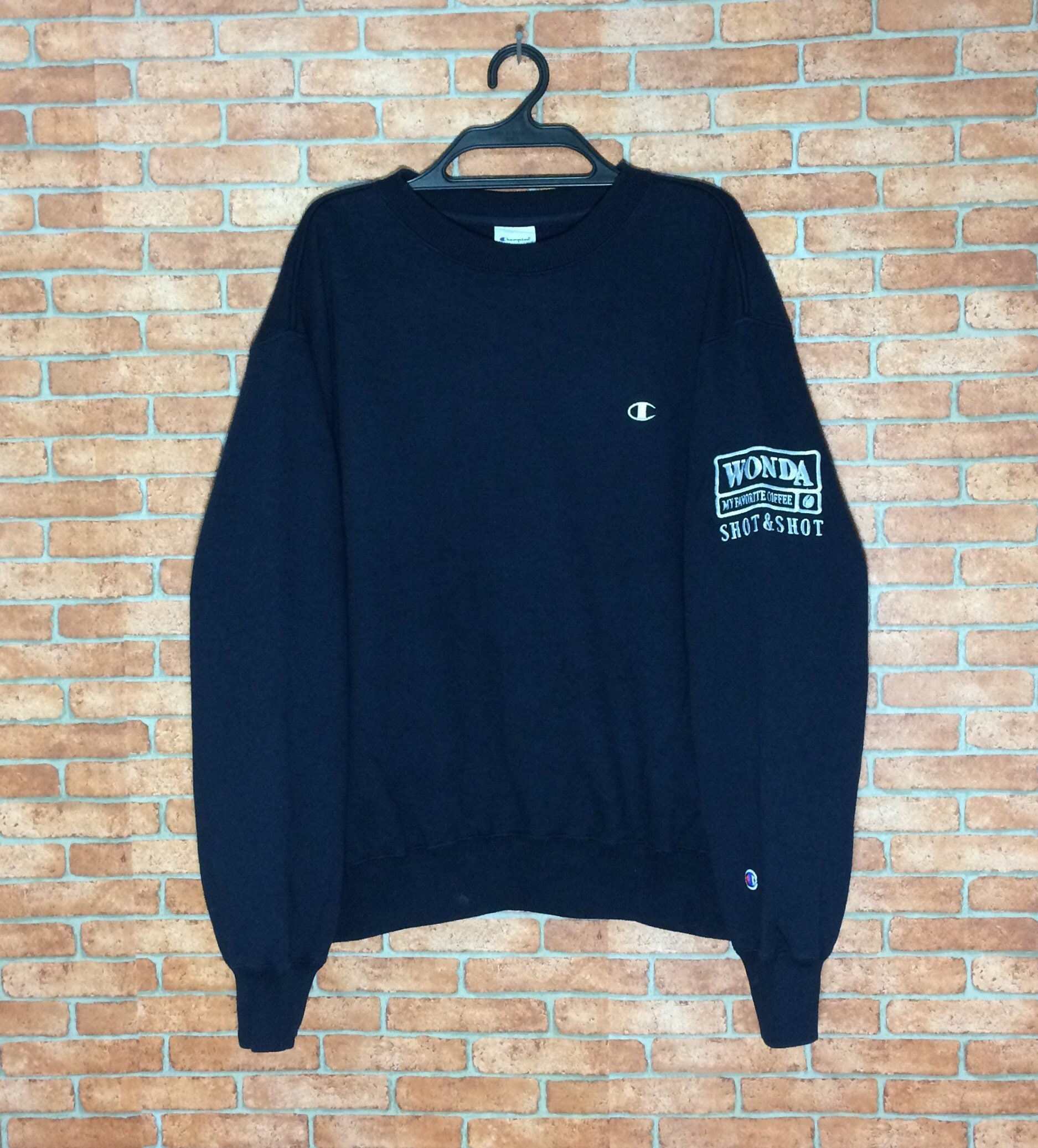 Rare!!! Vintage Champion Spell out Embroidery sweatshirt Pull over Vtg Crewneck Champion Product M L size Jacket BwkDds