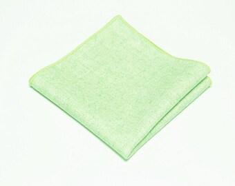 Mint Green Wool Pocket Square.Wool Handkerchief.Mint Green Hanky Wedding.Gifts.Mathing Set
