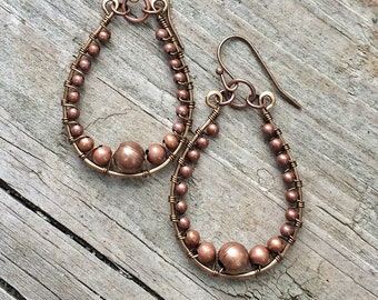 Copper Hoop Earrings, Copper Jewelry Earrings, Copper Dangle Earrings, Beaded Hoop Earrings, Beaded Copper Jewelry, Hoop Earrings